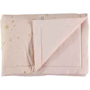 Nobodinoz - N104300 - Couverture Laponia 70x70 cm gold stella - dream pink (387854)