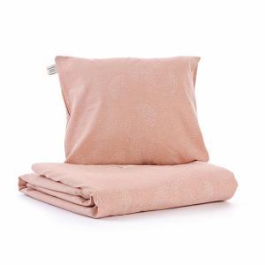 Nobodinoz - N102429 - Housse de couette + taie Himalaya (100x148 cm - 40x45cm)  white bubble - misty pink (388066)
