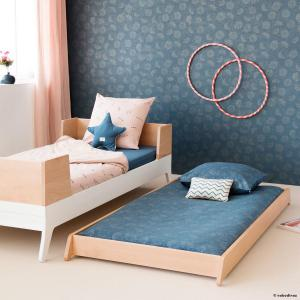 Nobodinoz - N102634 - Housse de couette + taie Himalaya (148x200 cm - 60x60cm)  gold bubble - night blue (388098)