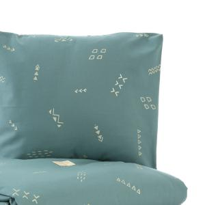 Nobodinoz - N102603 - Housse de couette + taie Himalaya (148x200 cm - 60x60cm)  gold secrets - magic green (388108)