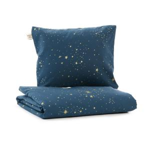 Nobodinoz - N102658 - Housse de couette + taie Himalaya (148x200 cm - 60x60cm)  gold stella - night blue (388114)