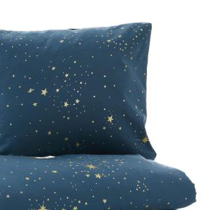 Nobodinoz - N102658 - Housse de couette + taie Himalaya (148x200 cm - 60x60cm)  gold stella - night blue (388114)