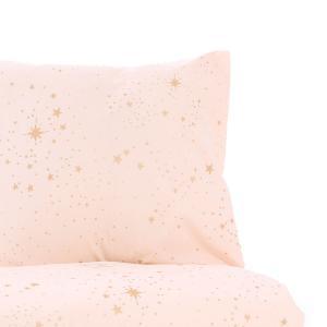 Nobodinoz - N102610 - Housse de couette + taie Himalaya (148x200 cm - 60x60cm)  gold stella - dream pink (388116)