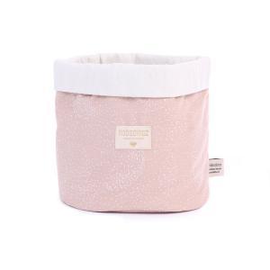 Nobodinoz - N101125 - Panier Panda S 19x15 cm en coton imprimé white bubble - misty pink (388954)
