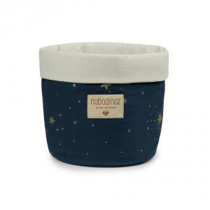 Nobodinoz - N101200 - Panier Panda S 19x15 cm en coton imprimé gold stella - night blue (388972)