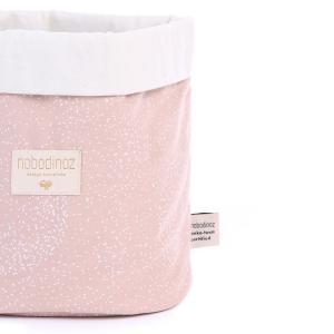 Nobodinoz - N101354 - Panier Panda M 24x20 cm en coton imprimé white bubble - misty pink (388984)