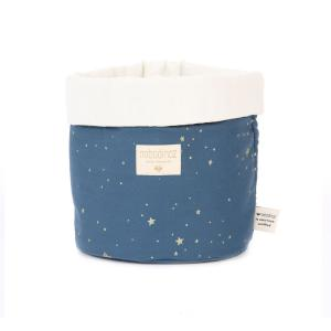 Nobodinoz - N101439 - Panier Panda M 24x20 cm en coton imprimé gold stella - night blue (389002)
