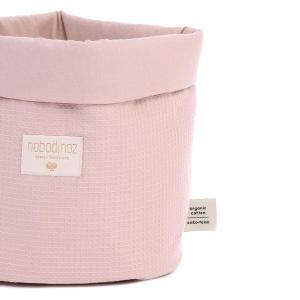 Nobodinoz - N101293 - Panier Panda S 19x15 cm coton uni misty pink (389050)