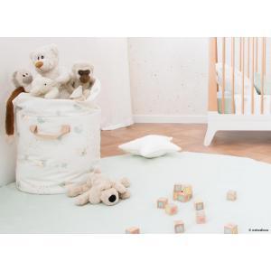 Nobodinoz - N101026 - Sac de rangement, jouets en coton 60x42x42 cm aqua eclipse - white (389210)