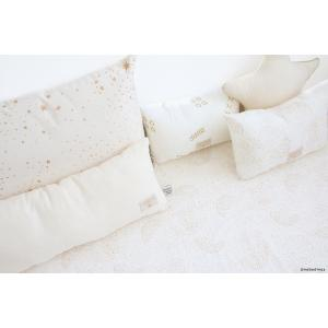 Nobodinoz - N099859 - Coussin Laurel en coton organique 22x35 cm gold bubble - white (389308)