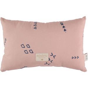 Nobodinoz - N099941 - Coussin Laurel en coton organique 22x35 cm blue secrets - misty pink (389312)