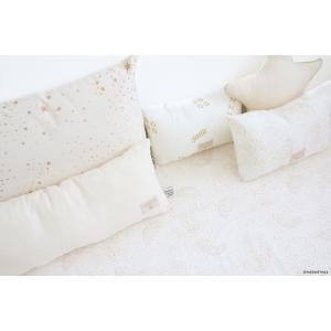 Nobodinoz - N099866 - Coussin Laurel en coton organique 22x35 cm gold secrets - white (389316)