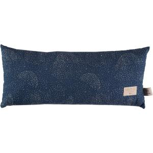 Nobodinoz - N100166 - Coussin Hardy en coton organique 22x52 cm gold bubble - night blue (389334)