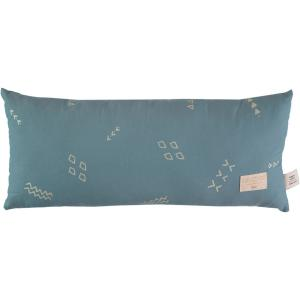 Nobodinoz - N100135 - Coussin Hardy en coton organique 22x52 cm gold secrets - magic green (389344)