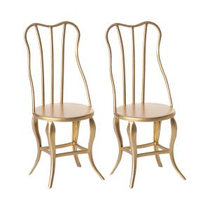 Maileg - 11-8103-00 - Vintage chair, Micro - Gold, 2 pack (390956)