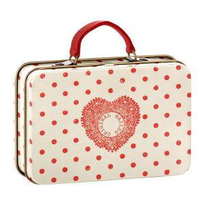 Maileg - 20-7012-00 - Metal Suitcase, Cream, Coral dots (392268)