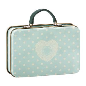 Maileg - 20-7013-00 - Metal Suitcase, Cream, Mint dots (392270)