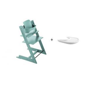 Stokke - BU131 - Pack chaise TRIPP TRAPP Bleu Aqua avec Baby Set et tablette (392584)