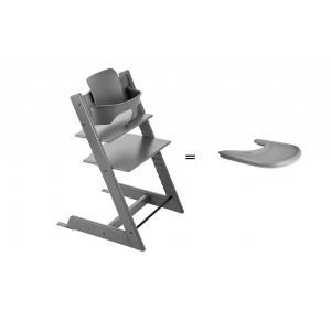 Stokke - BU132 - Pack chaise TRIPP TRAPP Gris tempête avec Baby Set et tablette (392586)