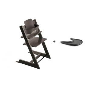 Stokke - BU133 - Pack chaise TRIPP TRAPP Gris brume avec Baby Set - Tablette OFFERTE (392588)