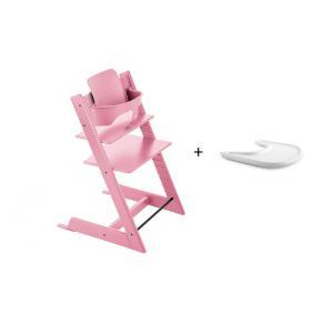 Stokke - BU134 - Pack chaise TRIPP TRAPP Rose Pâle avec Baby Set - Tablette OFFERTE (392590)