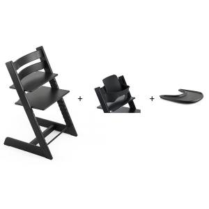 Stokke - BU137 - Pack chaise TRIPP TRAPP Chêne Noir avec Baby Set - Tablette OFFERTE (392596)