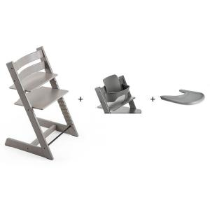 Stokke - BU138 - Pack chaise TRIPP TRAPP Chêne Gris pâle avec Baby Set - Tablette OFFERTE (392598)