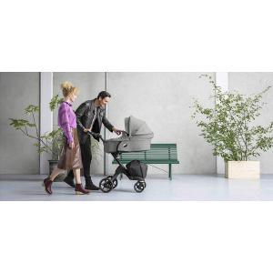 Stokke - BU146 - Pack poussette Stokke® Xplory® V6  Argent, poignée marron, nacelle et siège Noir mélange - siège auto Izigo Modular (392614)