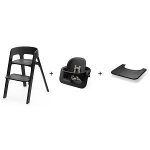 Stokke - BU155 - Chaise STEPS Bois de chêne Noir - Tablette OFFERTE (392868)