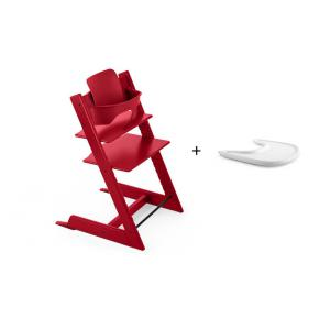 Stokke - BU126 - Pack chaise TRIPP TRAPP Rouge avec Baby Set et tablette (392872)