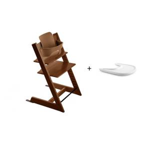 Stokke - BU129 - Pack chaise TRIPP TRAPP Noyer avec Baby Set et tablette (392878)
