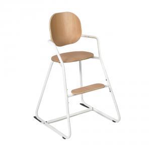 Charlie crane - TIBUTODWHITE - Chaise haute TIBU Blanche, assise hêtre naturel (393070)
