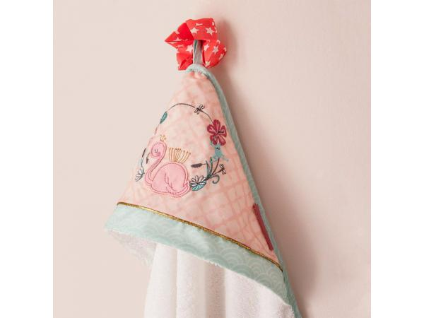 Cape de bain 75x75 cm flamant rose