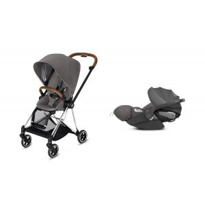 Cybex - BU199 - Poussette Mios 2019 et Cloud Z i-size  Alu-marron Manhattan Grey (398128)