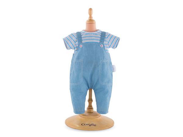 Bébé t- shirt rayé & salopette - taille 30 cm - âge : 18 mois