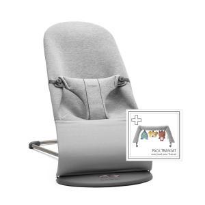 Babybjorn - 606072 - Pack Transat Bliss (Gris clair, Jersey 3D) + Jouet Amis doux (399134)