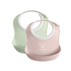 Babybjorn - 052043 - Mini Bavoir, lot de 2, Vert pastel/Rose pastel (399172)