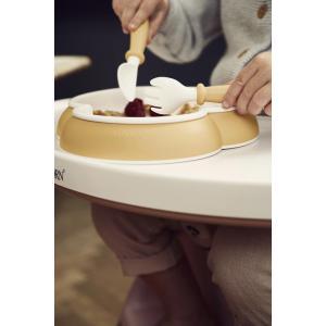 Babybjorn - 074066 - Assiette, Cuillère et Fourchette pour Bébé, 2 ensembles, Jaune pastel (399178)