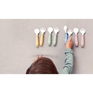 Babybjorn - 073066 - Cuillère et Fourchette pour Bébé, lot de 4, Jaune pastel (399202)