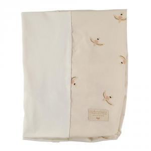 Nobodinoz - N109572 - Housse de matelas à langer Calma 70x50 cm Nude Haiku Birds Natural (399270)