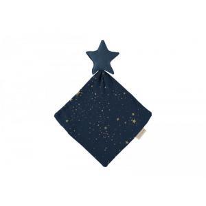 Nobodinoz - N109985 - Doudou étoile 30x30 Gold Stella /Midnight Blue (399306)