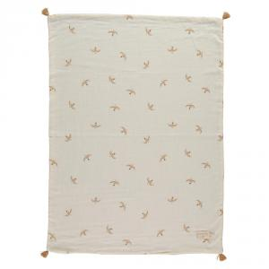 Nobodinoz - N109770 - Couverture d'été Treasure 70x100 Nude Haiku Birds Natural (399324)