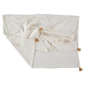 Nobodinoz - N109749 - Couverture d'été Treasure 70x100 Gold Stella/White (399332)