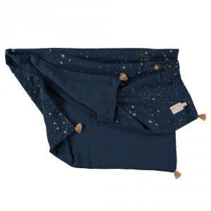 Nobodinoz - N109756 - Couverture d'été Treasure 70x100 Gold Stella /Midnight Blue (399334)