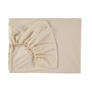 Nobodinoz - N109428 - Drap housse Tibet 70x140 cm Honey Sweet Dots Natural (399346)