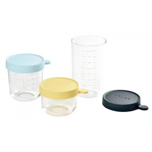 Beaba - 912696 - Coffret 3 portions verre (150 ml yellow,250 ml light blue,400 ml dark blue) (399438)