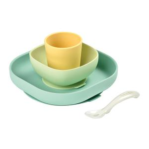 Beaba - 913436 - Set vaisselle silicone 4 pièces Yellow (399472)