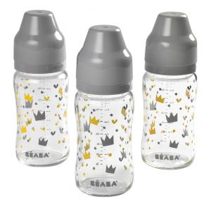 Beaba - 911656 - Set de 3 biberons verre col large 240 ml YellowGrey Crown (399494)