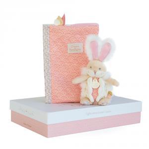 Doudou et compagnie - DC3498 - Lapin de sucre rose - coffret protège carnet de santé + doudou  - taille  cm (399738)