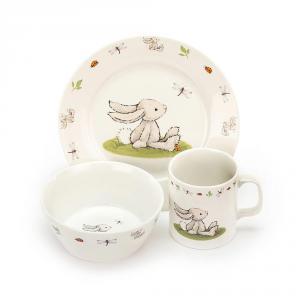Jellycat - CS2BB - Coffret repas avec bol, plat et tasse Lapin bashful - L = 12 cm x l = 28 cm x H =20 cm (400530)